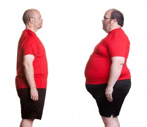 An obese man and a morbidly obese man.