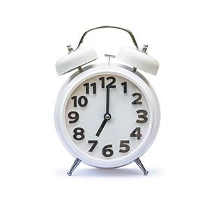 Alarm clock on surgery day.