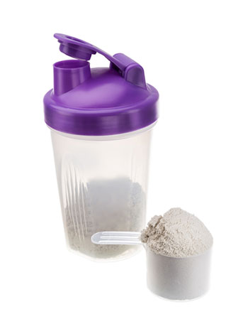 Protein shake and shaker bottle.