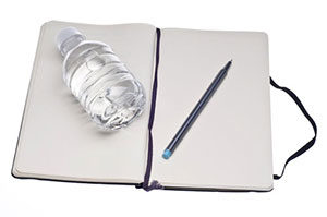 Food journal and water.