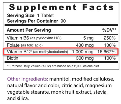 B-12 Vitamin Label